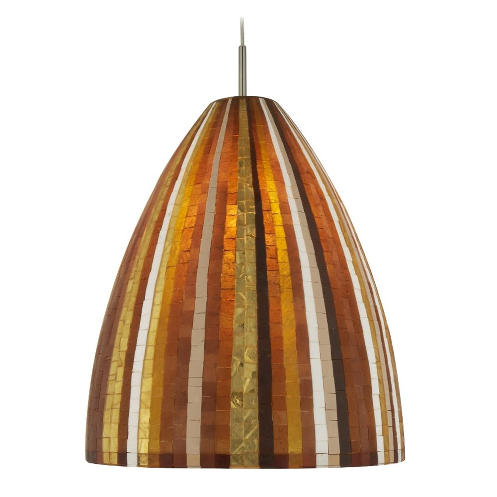 oggetti lighting mosaic satin nickel pendant light with