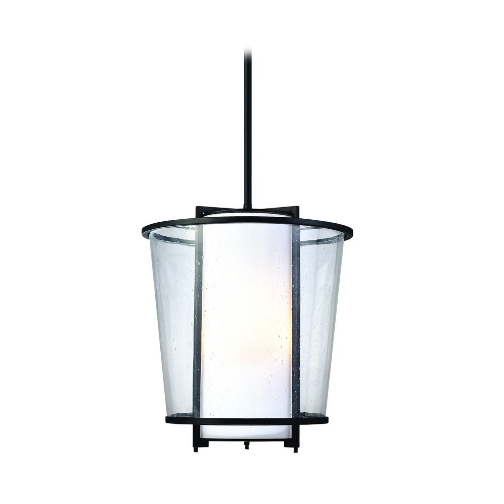 Modern Outdoor Hanging Light with White Glass in Forged Bronze ...