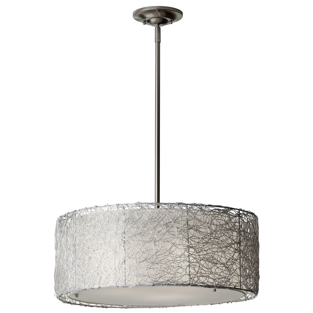 Gray drum pendant lighting : Modern drum pendant light with grey shade in brushed steel