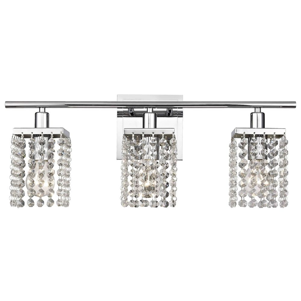 Ashford Clics Lighting 3 Light Crystal Bathroom Vanity 2276 26 Shown In Chrome Finish Product Image