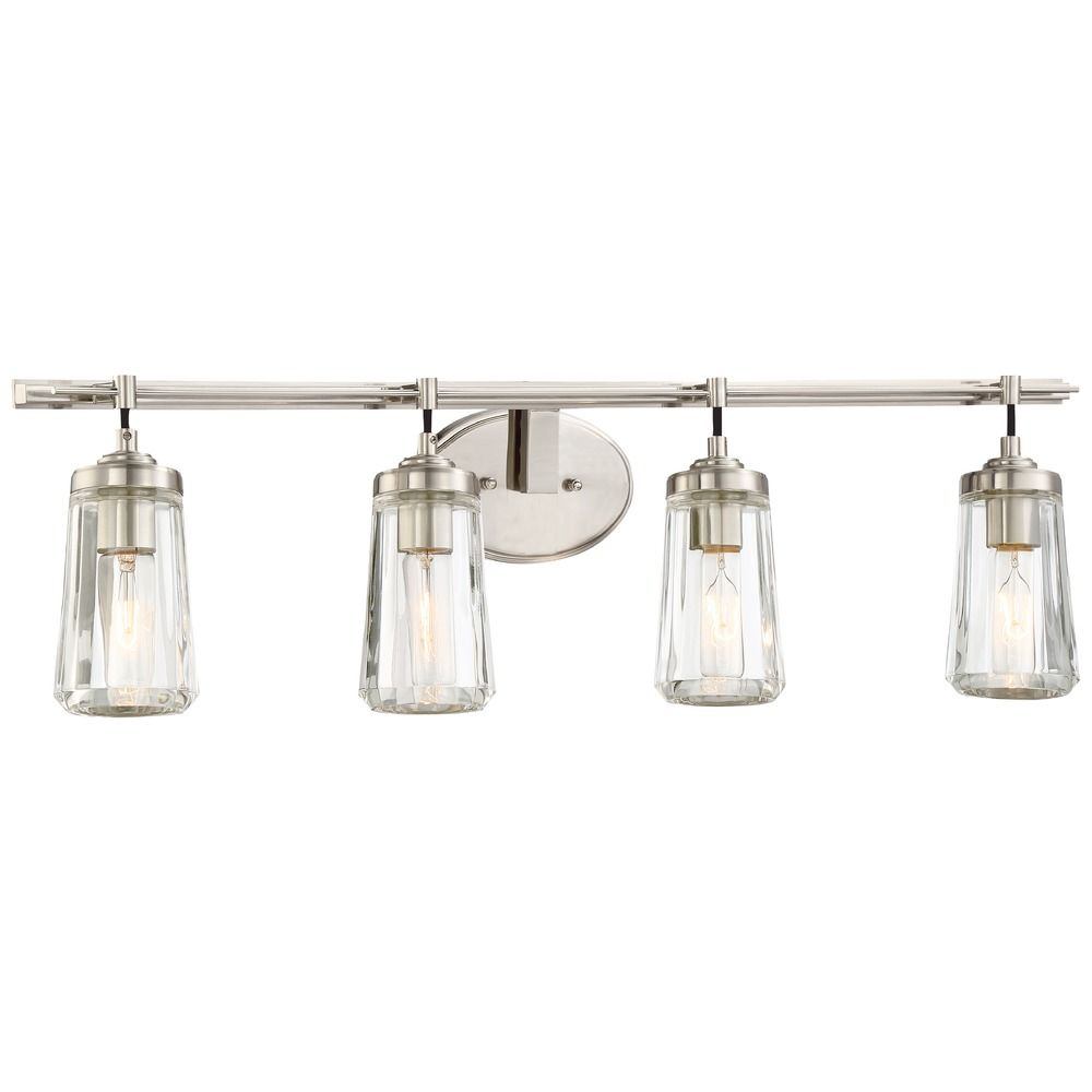 Minka poleis brushed nickel bathroom light 2304 84 for Brushed nickel lighting for bathroom