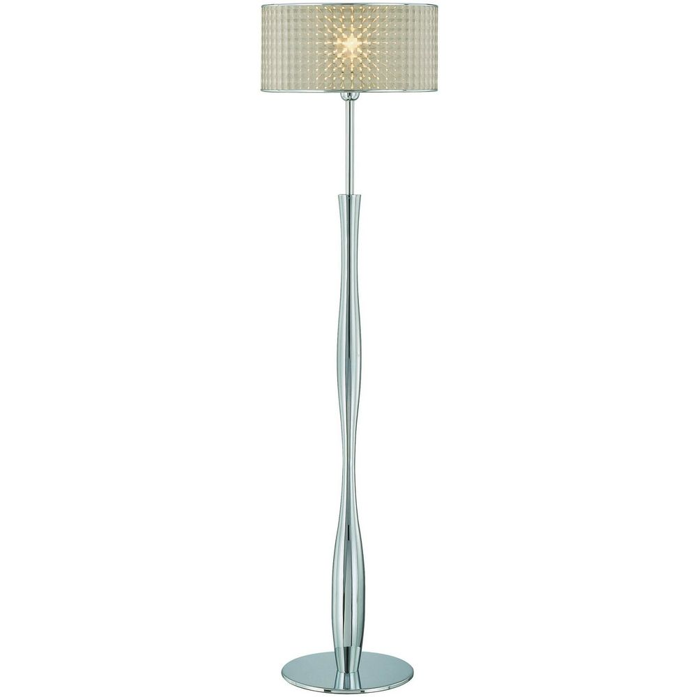 source lighting lite source lighting chrome floor lamp with drum shade. Black Bedroom Furniture Sets. Home Design Ideas