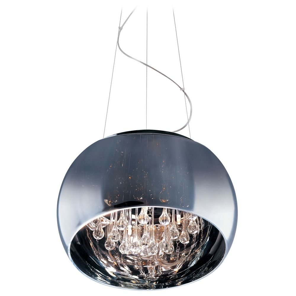 Modern Pendant Light With Clear Glass In Polished Chrome