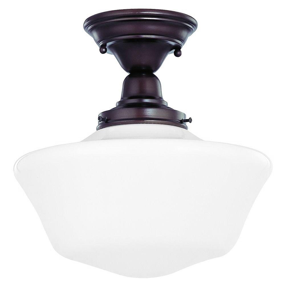 12 inch schoolhouse semi flushmount ceiling light in. Black Bedroom Furniture Sets. Home Design Ideas