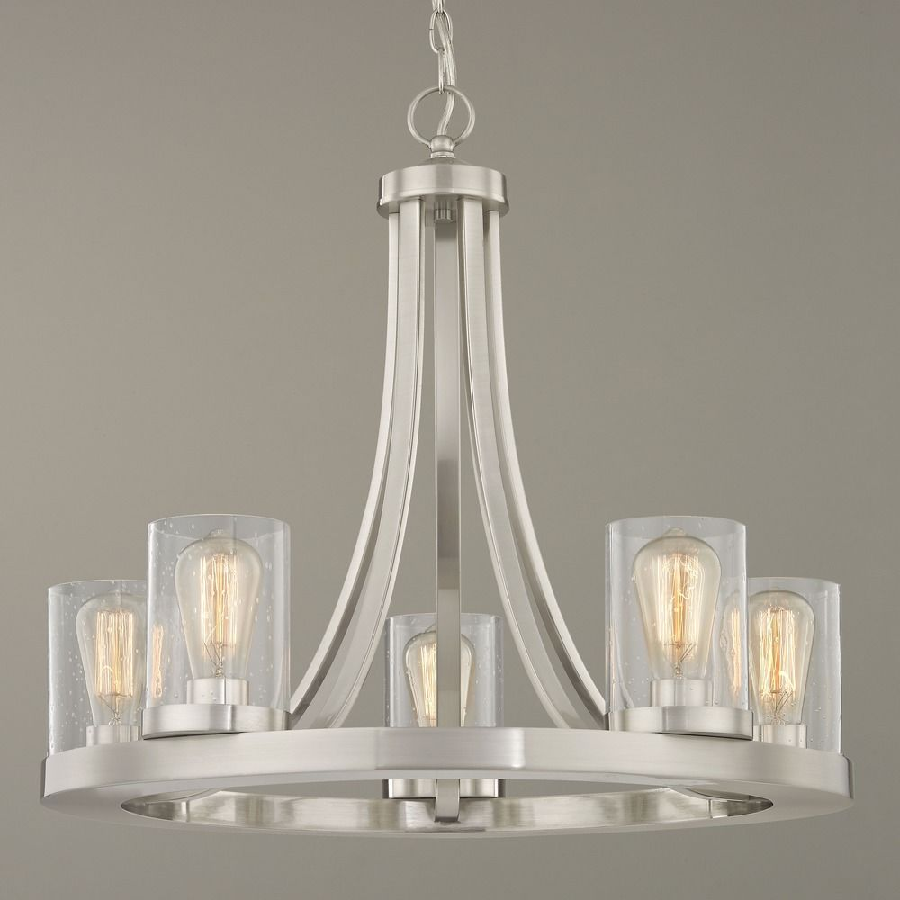 Chandelier Lighting Glass: Industrial Seeded Glass Chandelier Satin Nickel 5 Lt
