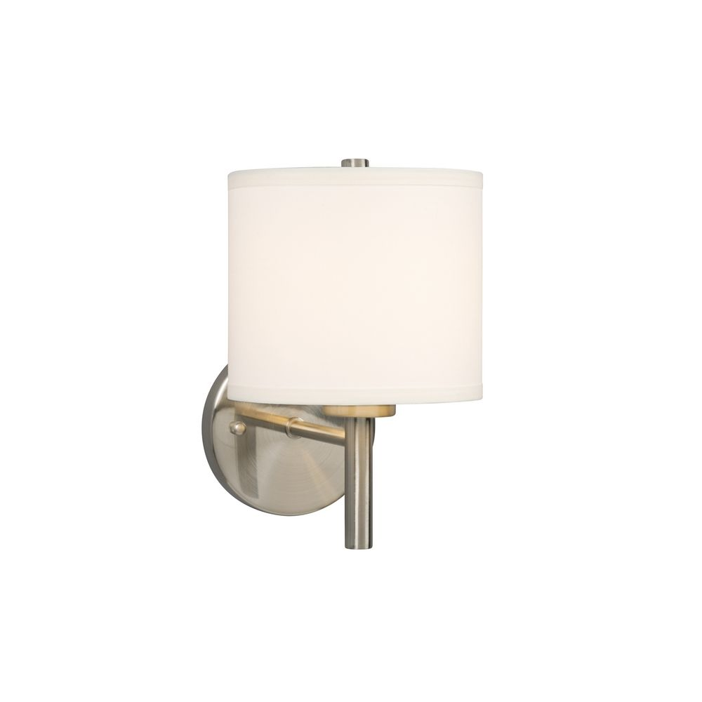 Modern White Wall Sconces : Modern Sconce Wall Light with White Shade in Brushed Nickel Finish 213040BN Destination Lighting