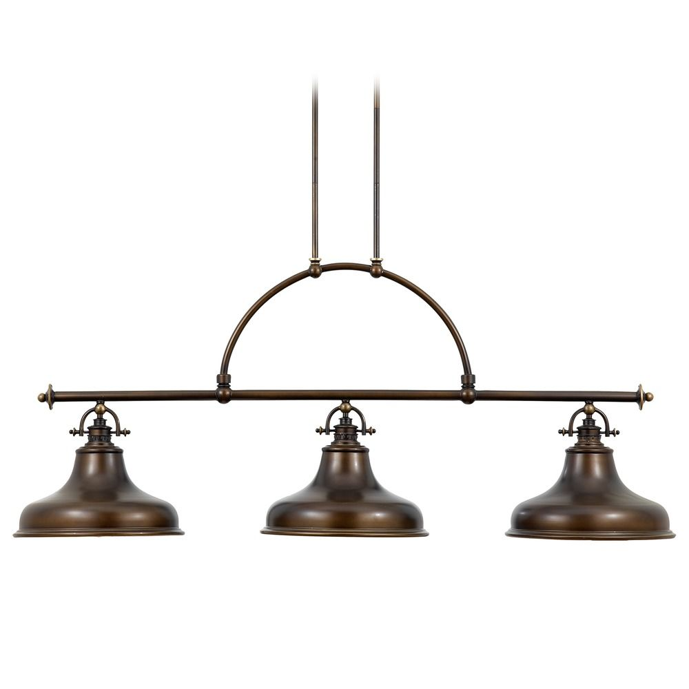 Farmhouse island light bronze emery by quoizel lighting for Kitchen island lighting pendants