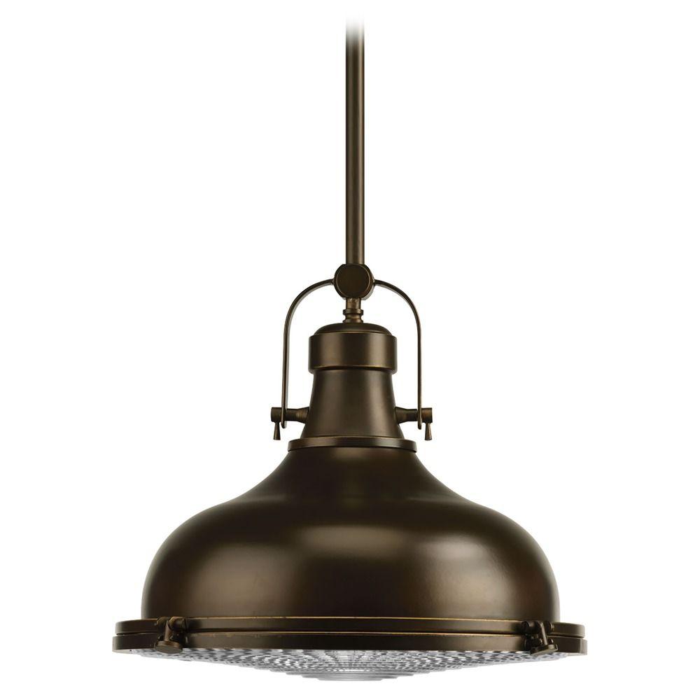 Farmhouse prismatic glass led pendant light oil rubbed for Progressive lighting
