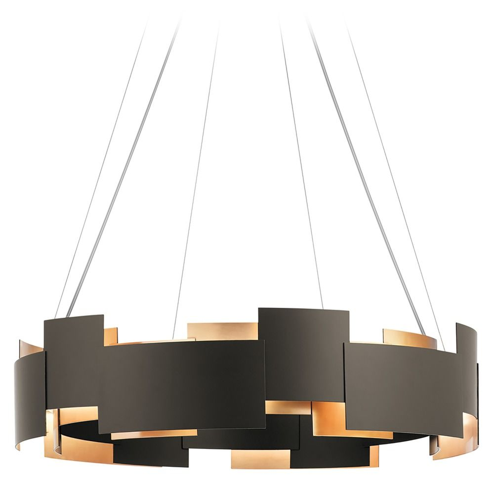 Kichler Lighting Moderne Olde Bronze Led Pendant Light With Drum Shade At Destination