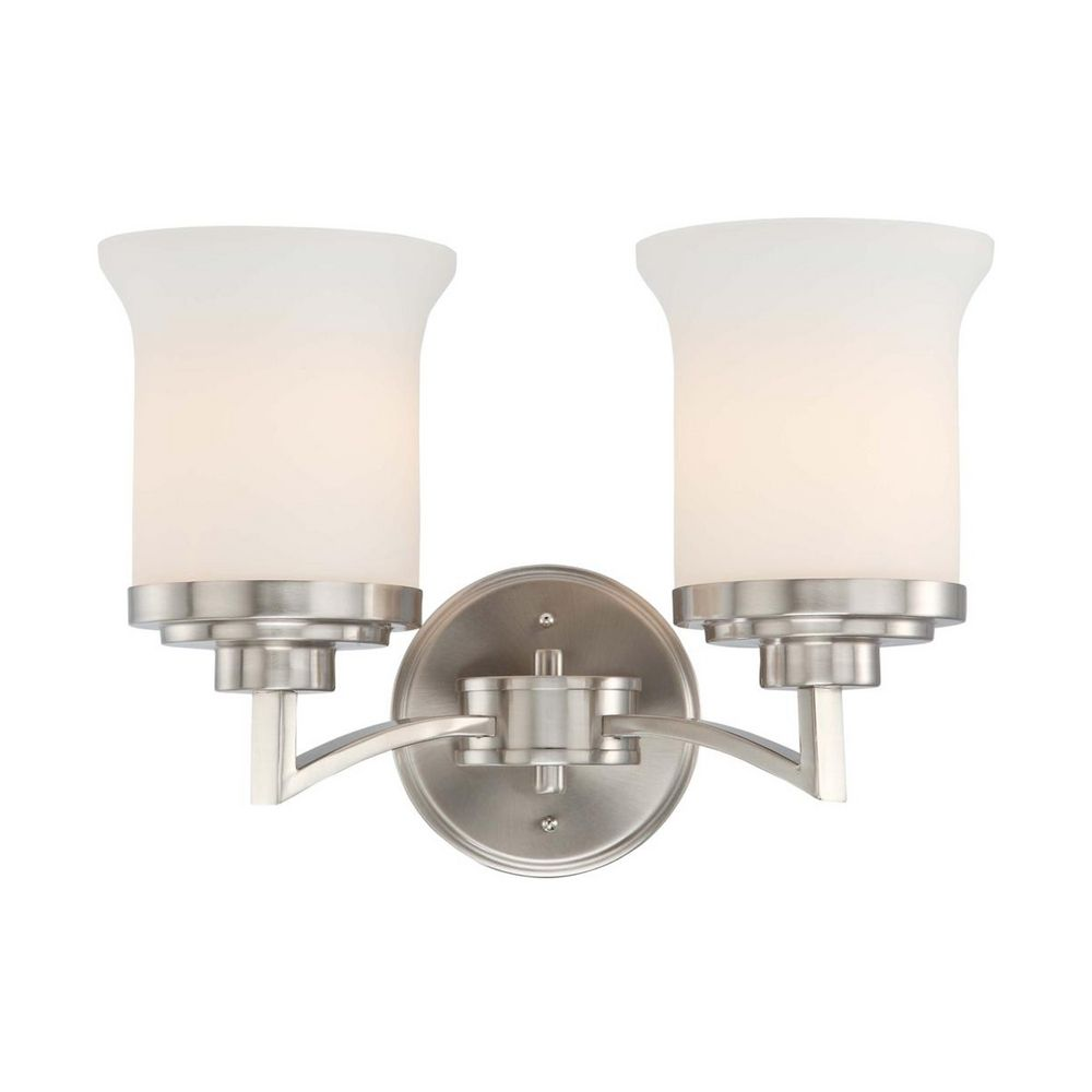 Modern Bathroom Light With White Glass In Brushed Nickel Finish 60 4102 Destination Lighting