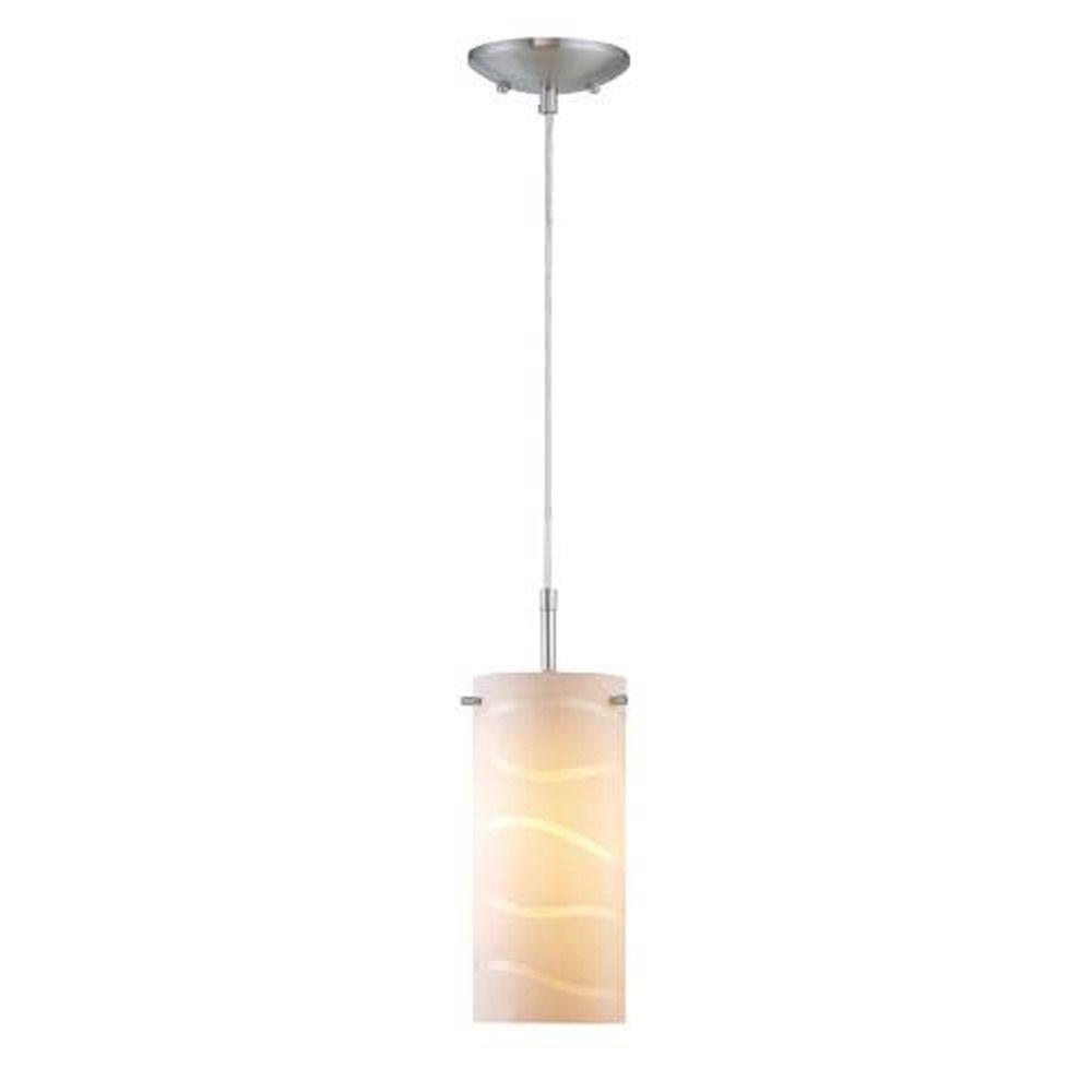 Lite Source LS-19991WHT Pacifica Pendant Lamp with White Glass Shade White HI-Lite Source