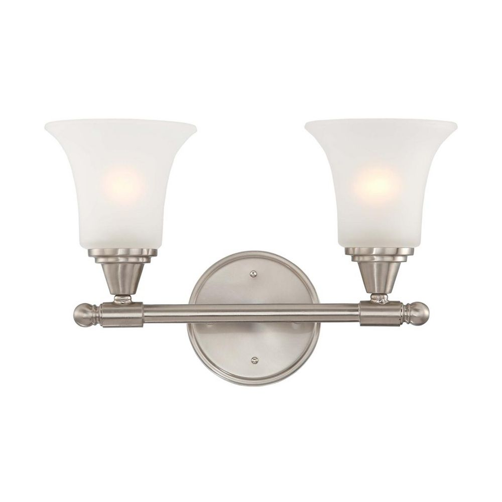 Modern Bathroom Light With White Glass In Brushed Nickel Finish 60 4142 Destination Lighting