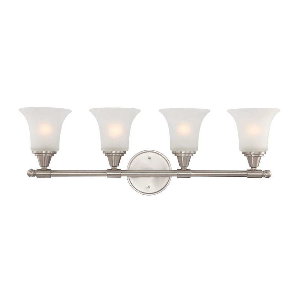 Modern Bathroom Light with White Glass in Brushed Nickel Finish 60/4144 Destination Lighting
