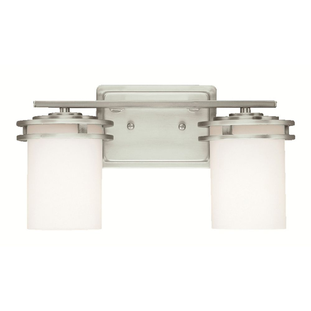 Kichler Brushed Nickel Modern Bathroom Light With White Glass 5077ni Destination Lighting