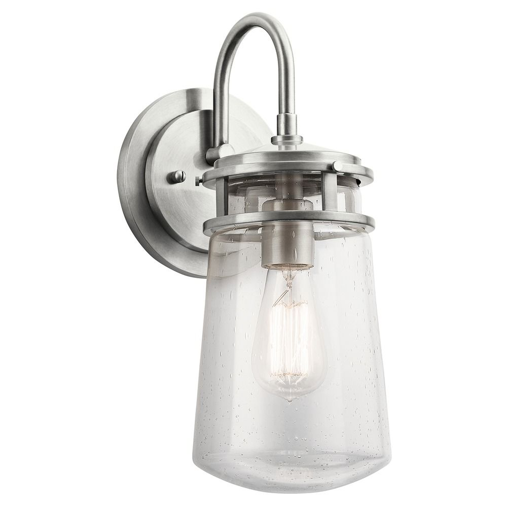 Seeded Glass Outdoor Wall Light Brushed Aluminum Kichler ...