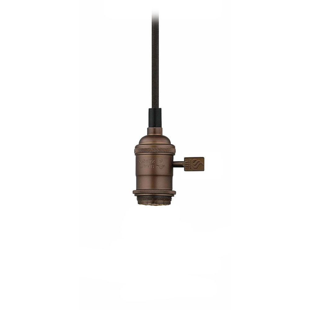 Bronze bare bulb cloth cord mini pendant light socket assembly product image mozeypictures Gallery