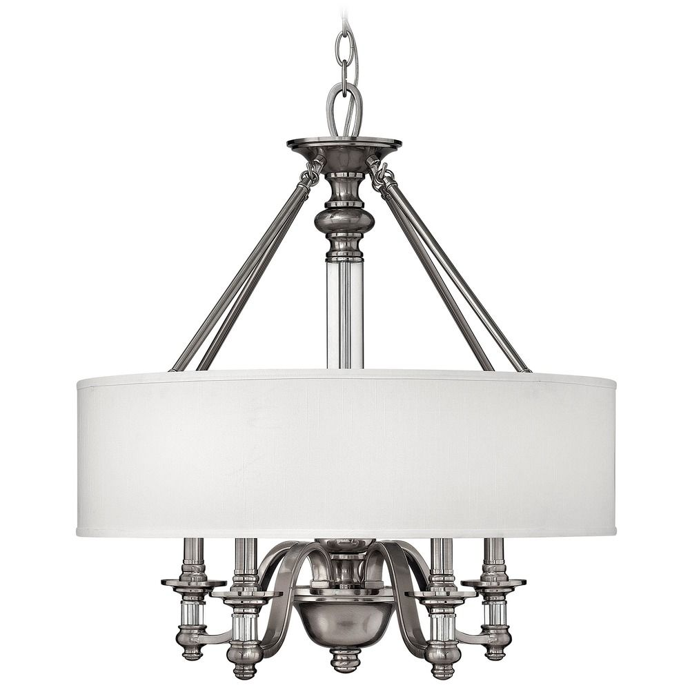 Hinkley Drum Lighting: Modern Drum Pendant Light With White Shade In Polished