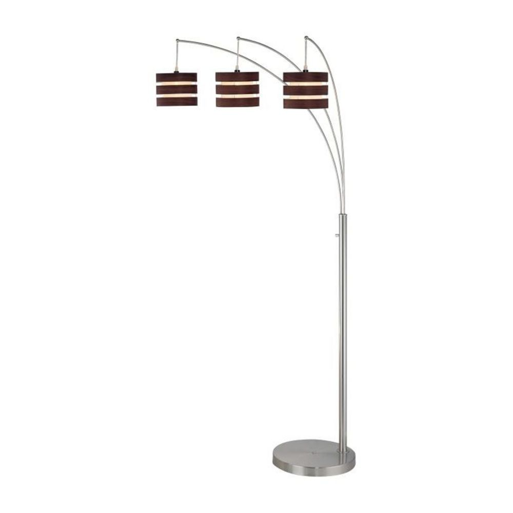 Arc Floor Lamp With Three Lights And Wood Shades Ls