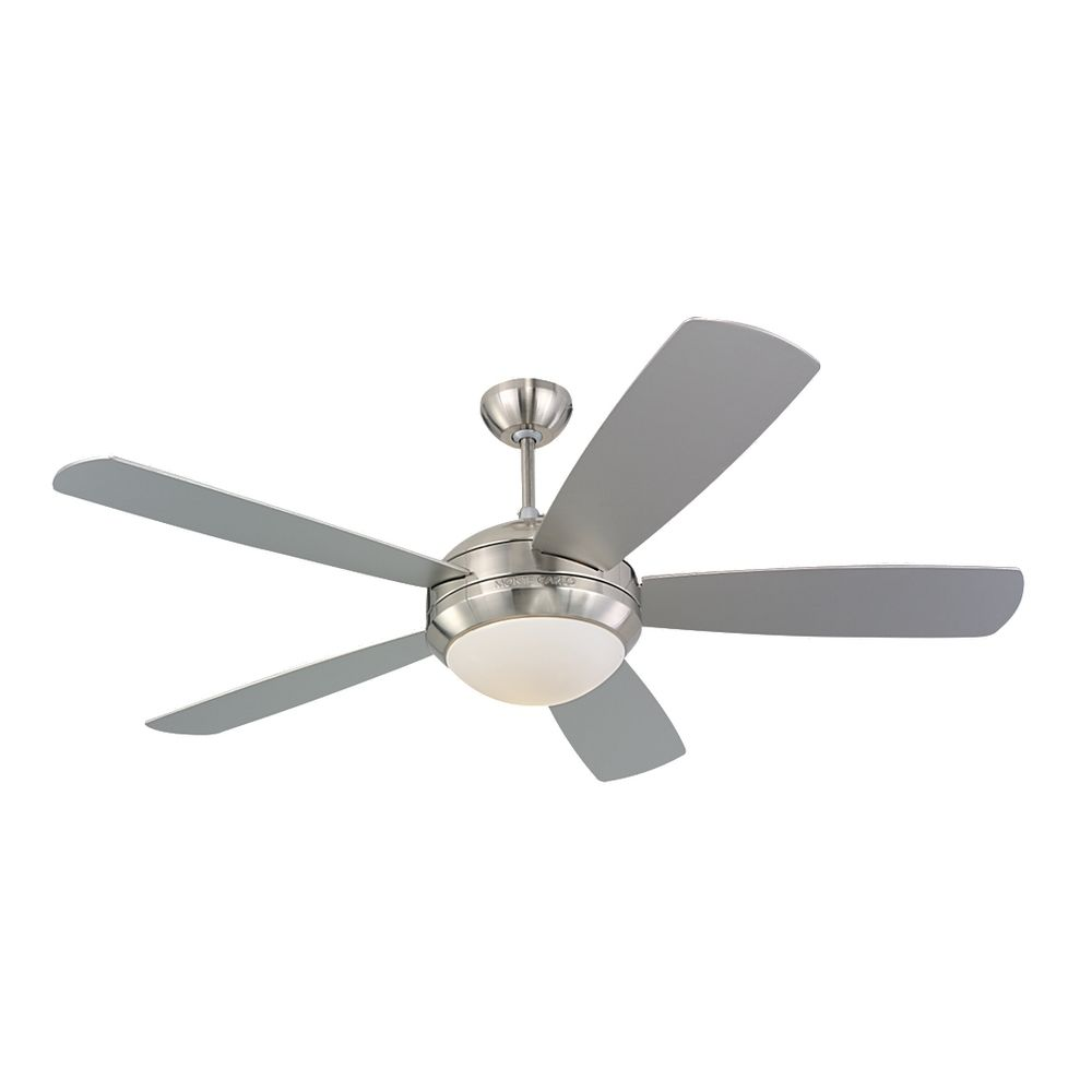 Modern Ceiling Fan With Light With White Glass In Brushed