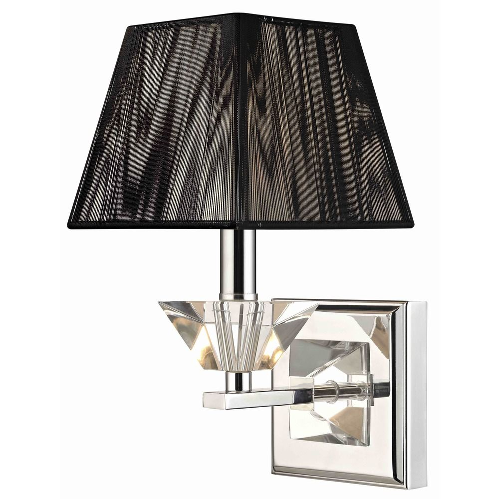 Chrome Wall Sconces With Shade : Contemporary Crystal Chrome Wall Sconce with Black String Shade 2271-26 Destination Lighting