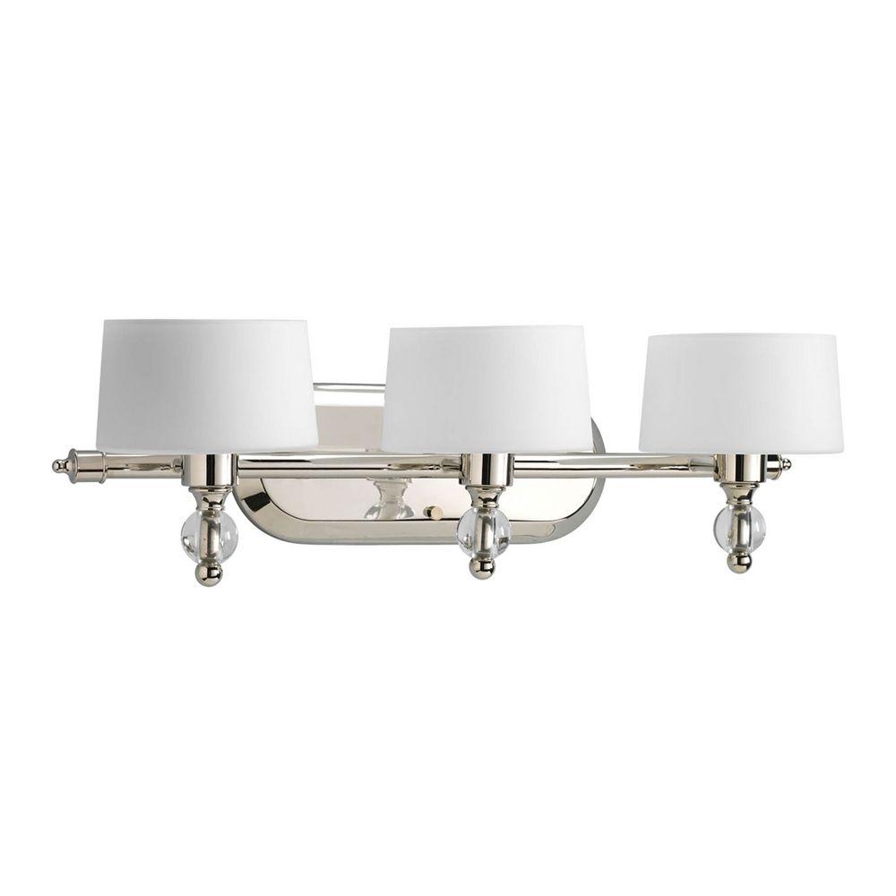 Progress Modern Polished Nickel Bathroom Light With White Glass P2927 104wb Destination Lighting