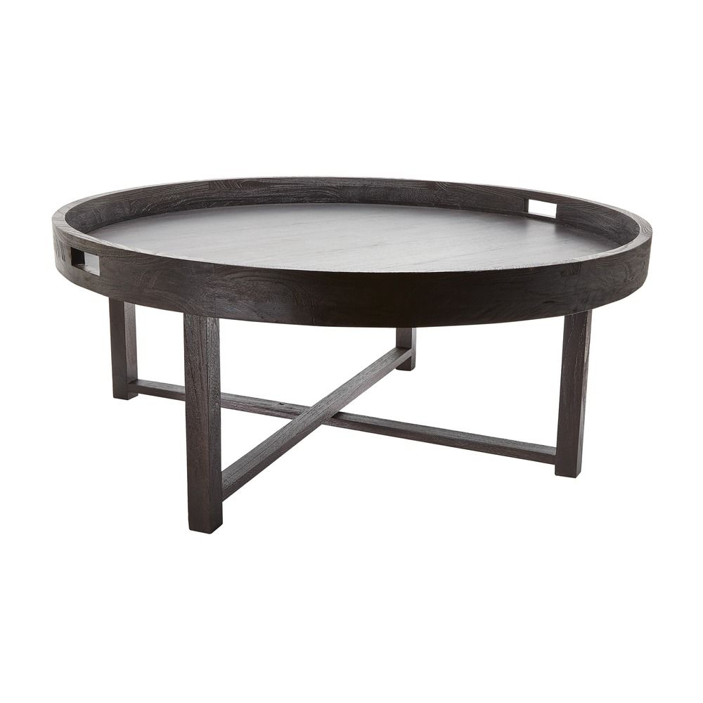 Round Black Teak Coffee Table Tray 784059 Destination Lighting