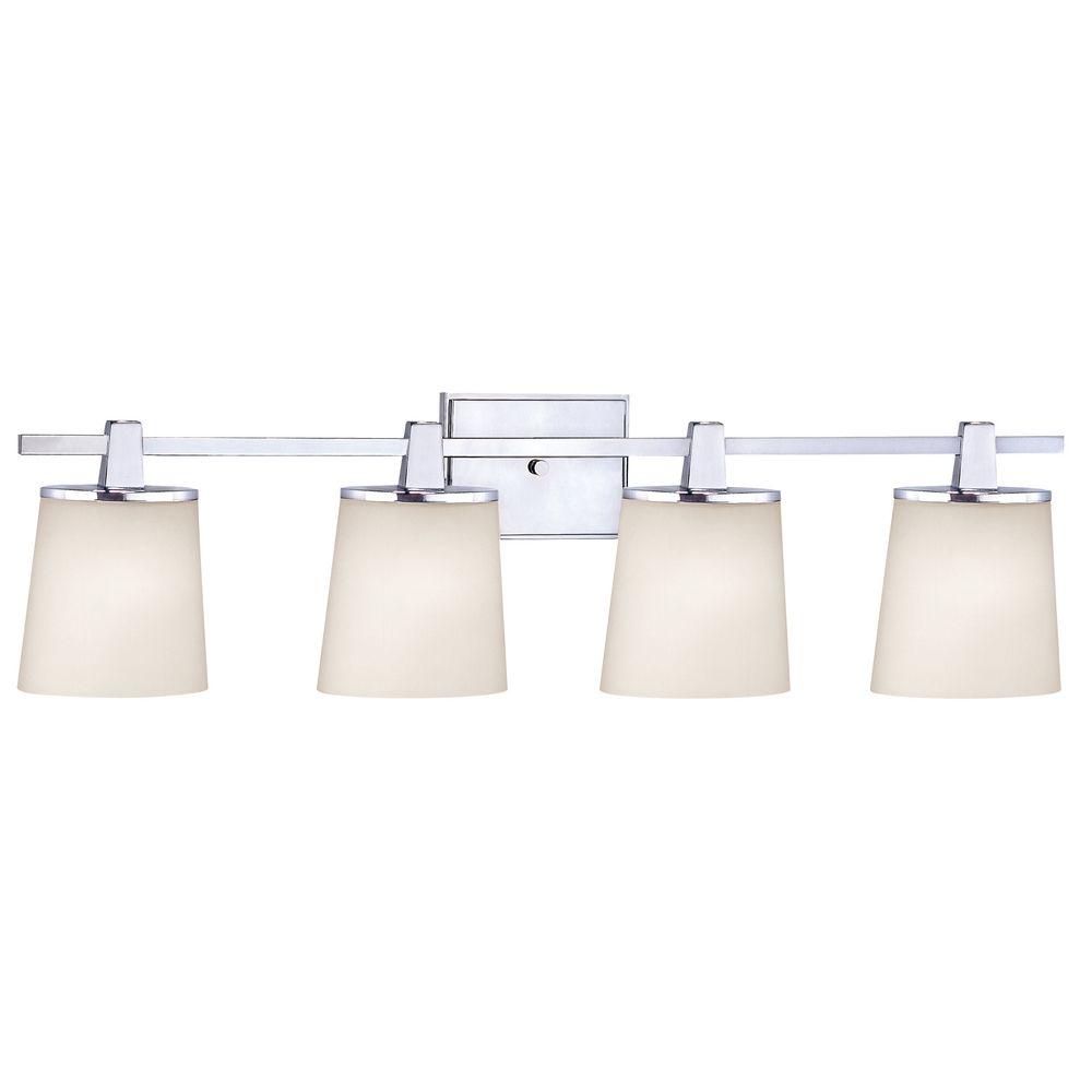 Chrome Bathroom Light with White Glass in Chrome Finish  3784-26 ...