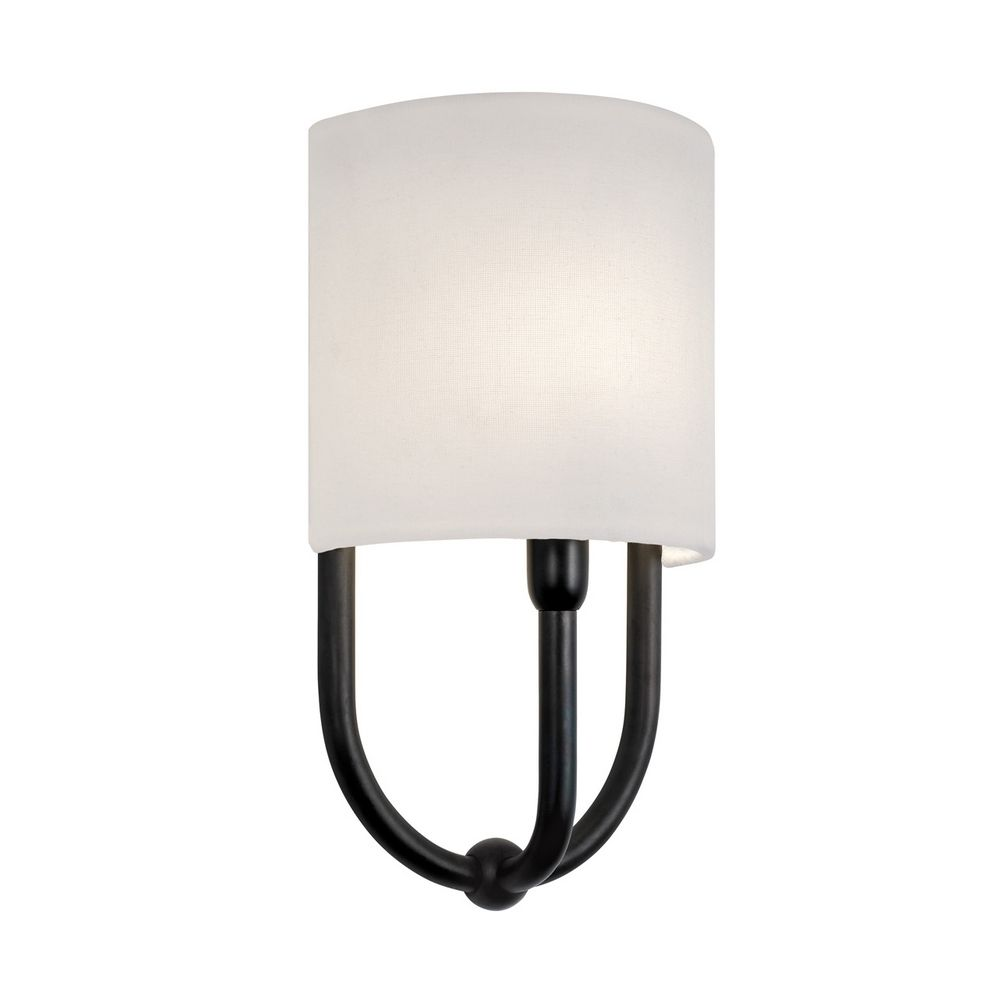 Bronze Wall Sconce With Shade : Sconce Wall Light with White Shade in Rubbed Bronze Finish 1833.24 Destination Lighting