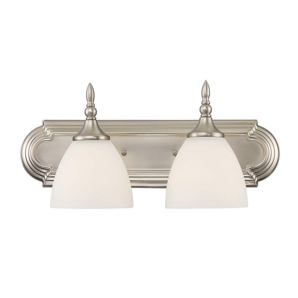 Savoy house lighting herndon satin nickel bathroom light 8 1007 2 sn destination lighting for Savoy house bathroom lighting