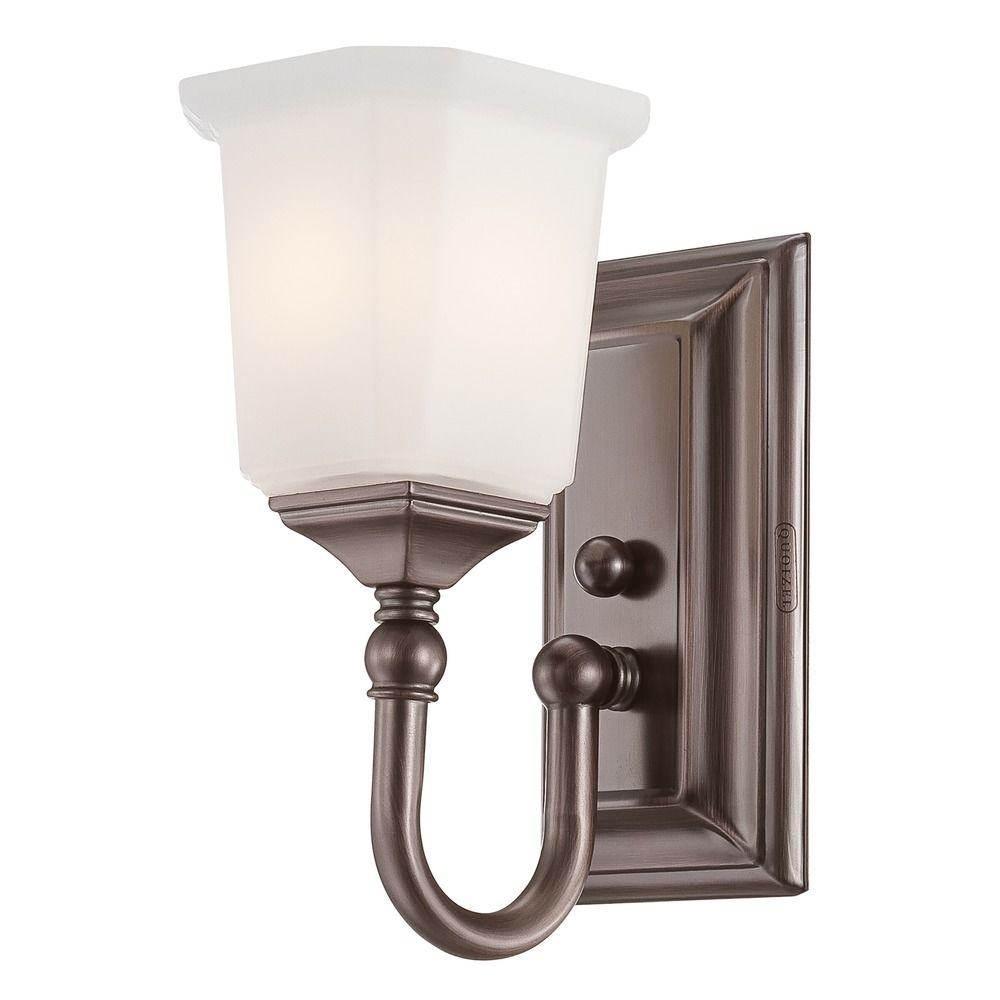 Amazing Lighting Bathroom Light With White Glass In Heirloom Bronze Finish