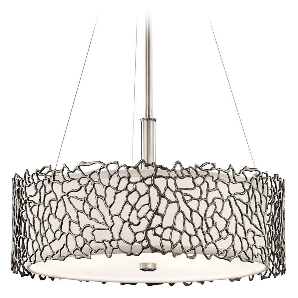 Kichler lighting silver coral classic pewter pendant light with drum kichler lighting silver coral classic pewter pendant light with drum shade aloadofball Gallery