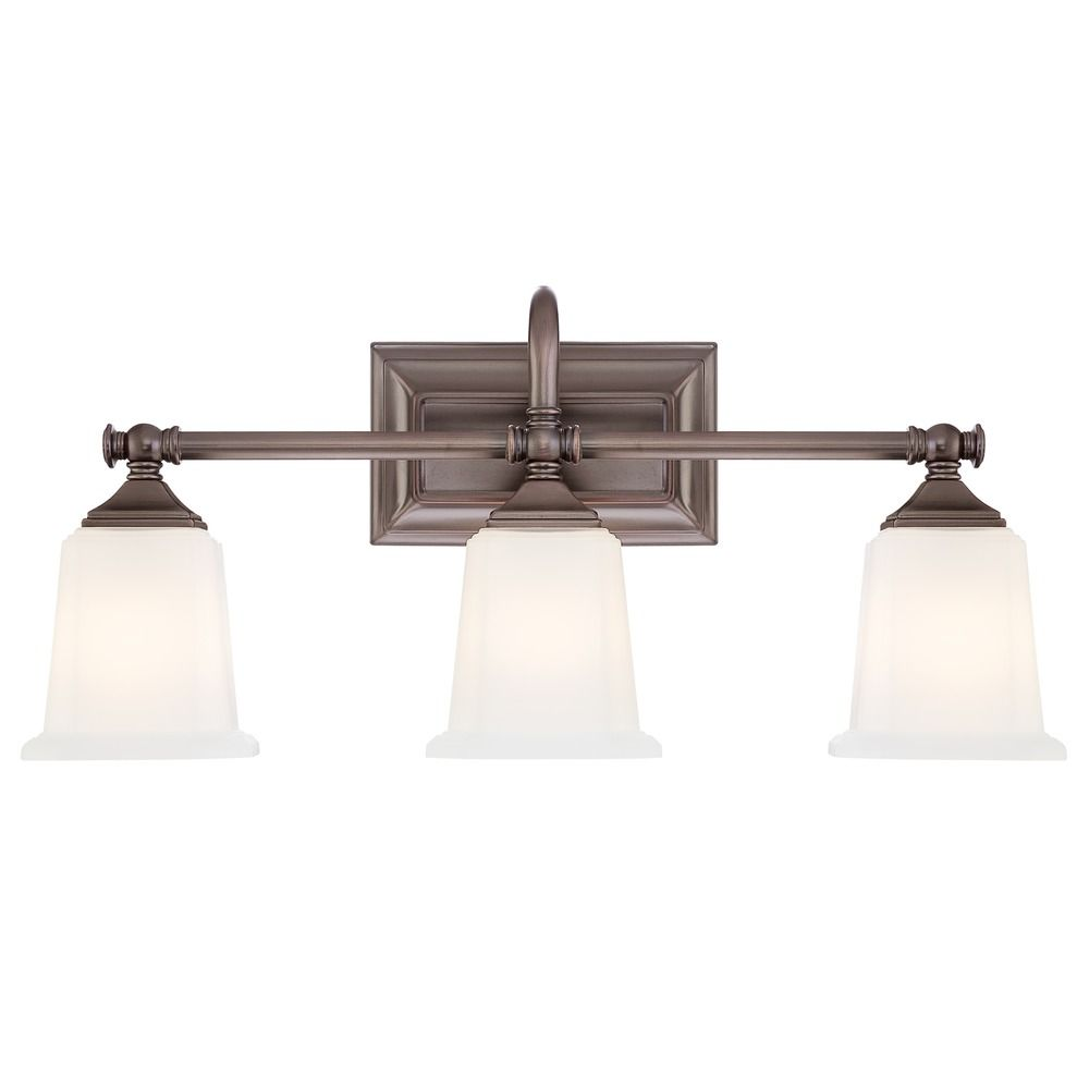 Traditional Bathroom Light With White Gl In Harbor Bronze Finish At Destination Lighting