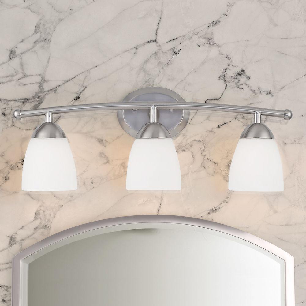 Modern Bathroom Light With White Gl
