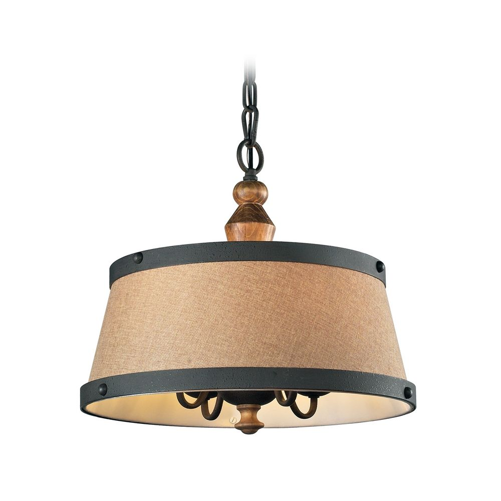 Drum Pendant Light With Turned Wood Accents In Vintage