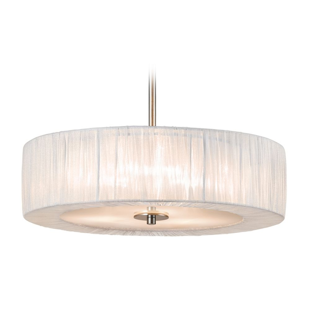 modern drum pendant light with white shades in satin
