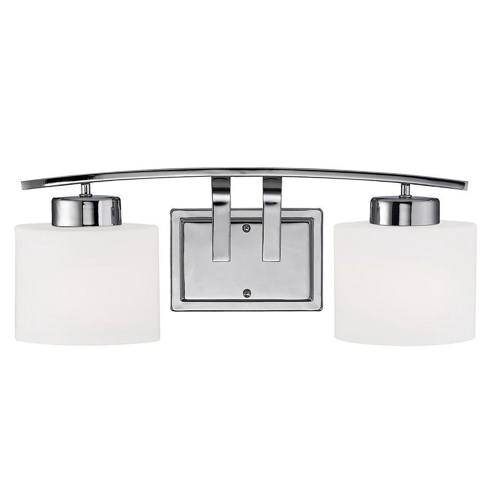 Chrome Bathroom Wall Light With White Oval Glass