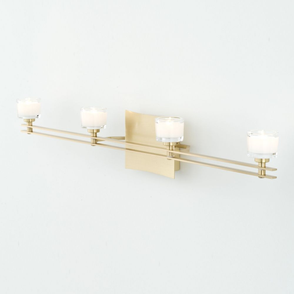 Perfect  Lighting Modern Bathroom Light With White Glass In Aged Brass Finish