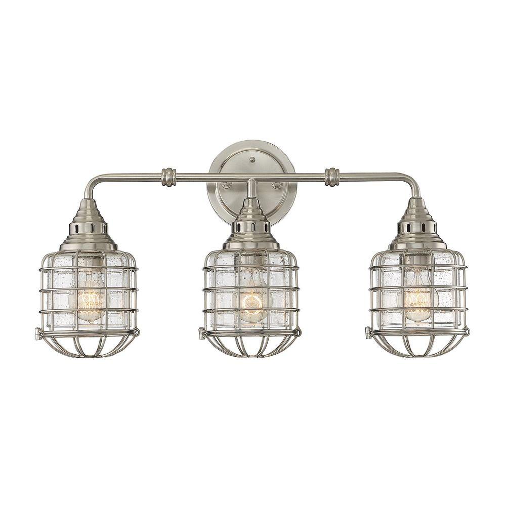 Seeded Glass Bathroom Light Satin Nickel Savoy House 8 575 3 Sn Destination Lighting