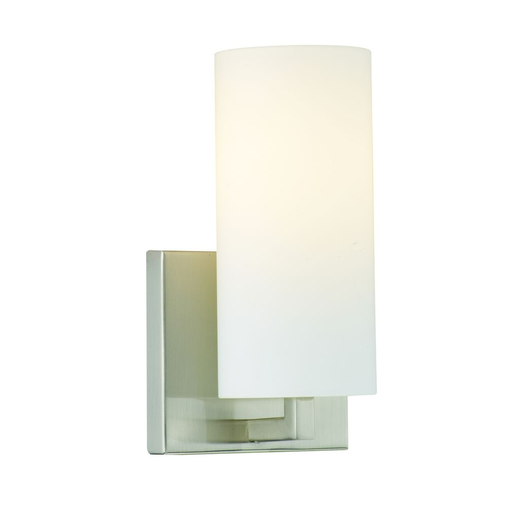 Wall Sconce White Glass : Modern Sconce Wall Light with White Glass in Satin Nickel Finish F450536E1 Destination Lighting