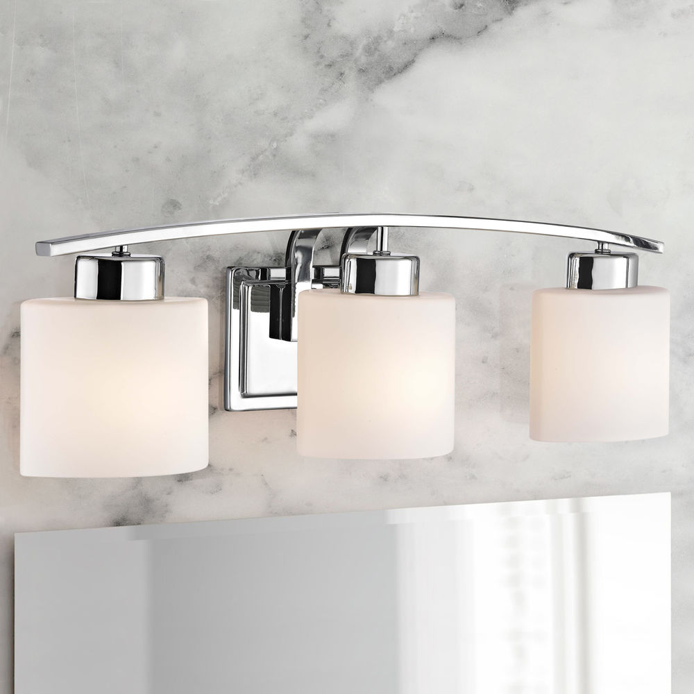 Chrome Bathroom Wall Light With White Oval Glass Three Lights 1383 26 Destination Lighting