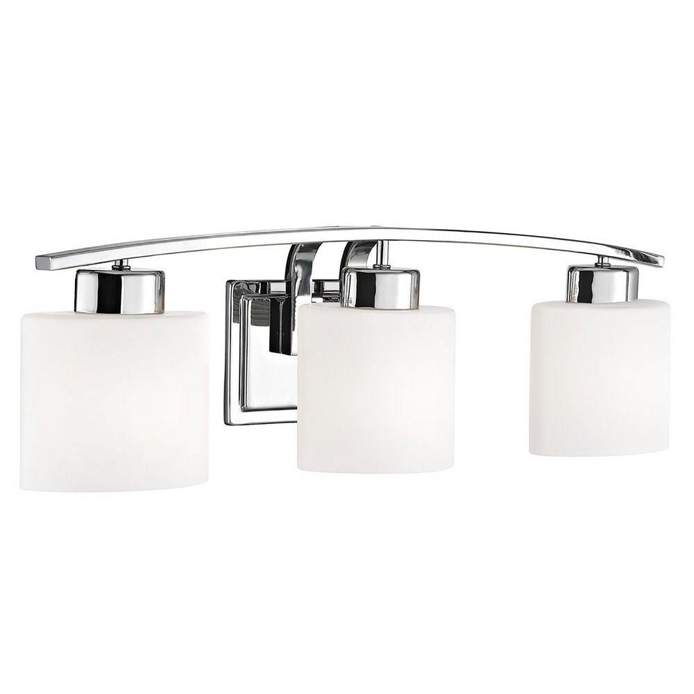 Chrome Bathroom Wall Light with White Oval Glass - Three ...