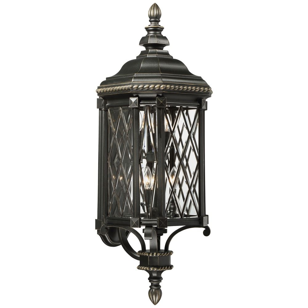 Gold Outside Wall Lights : Minka Bexley Manor Black with Gold Outdoor Wall Light 9323-585 Destination Lighting