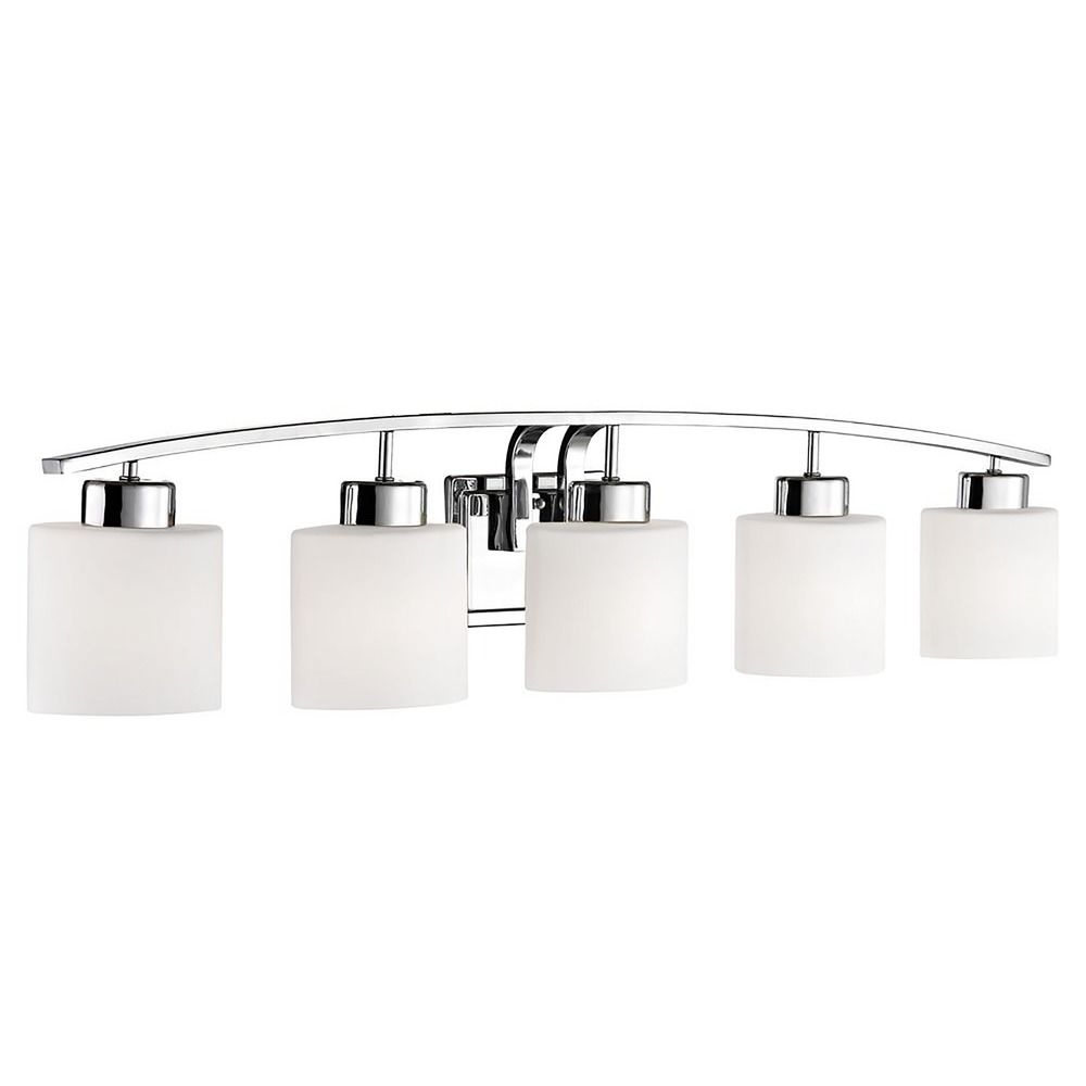 Bathroom Wall Light with White Oval Glass - Five Lights | 1385-26 ...
