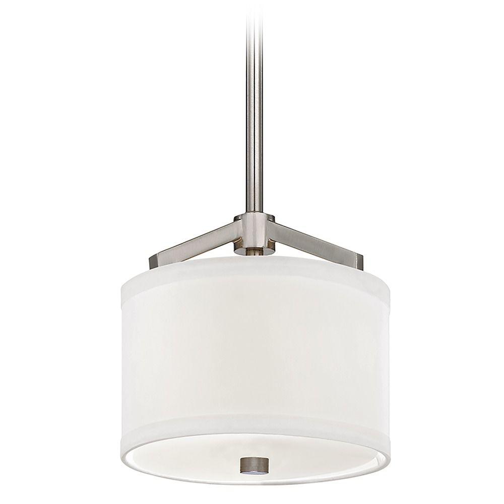 Nickel mini pendant with white drum shade light 1881 09 product image aloadofball Images