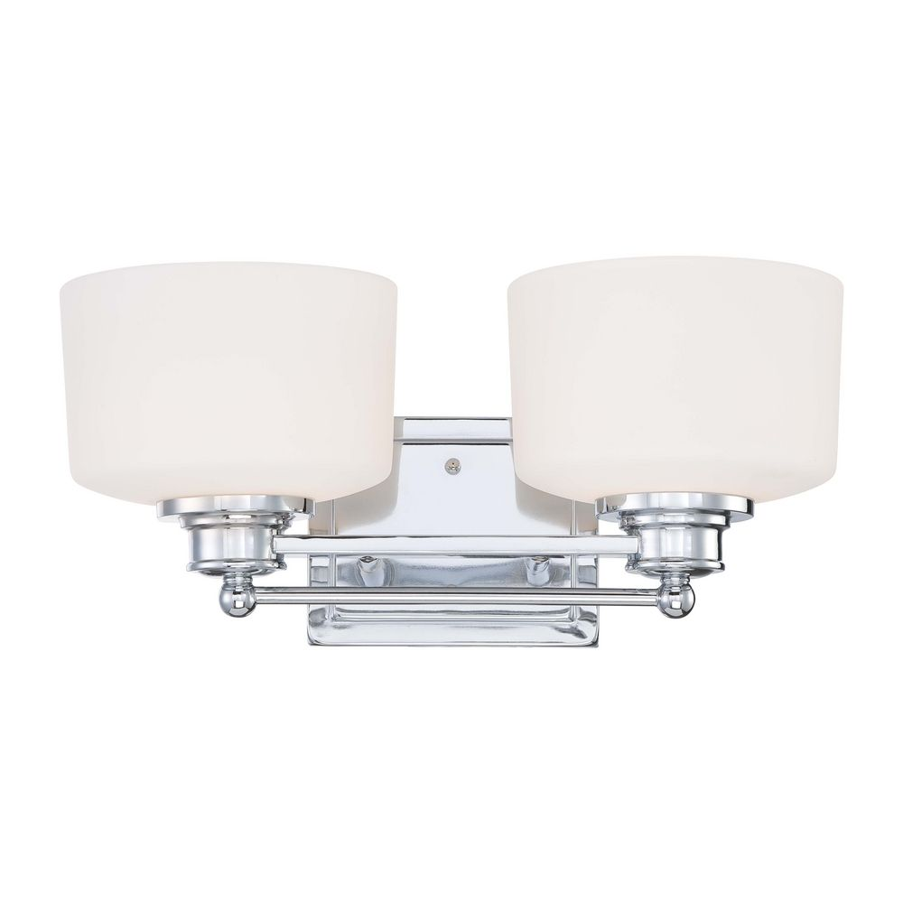 Modern Bathroom Light With White Glass In Polished Chrome Finish 60 4582 Destination Lighting