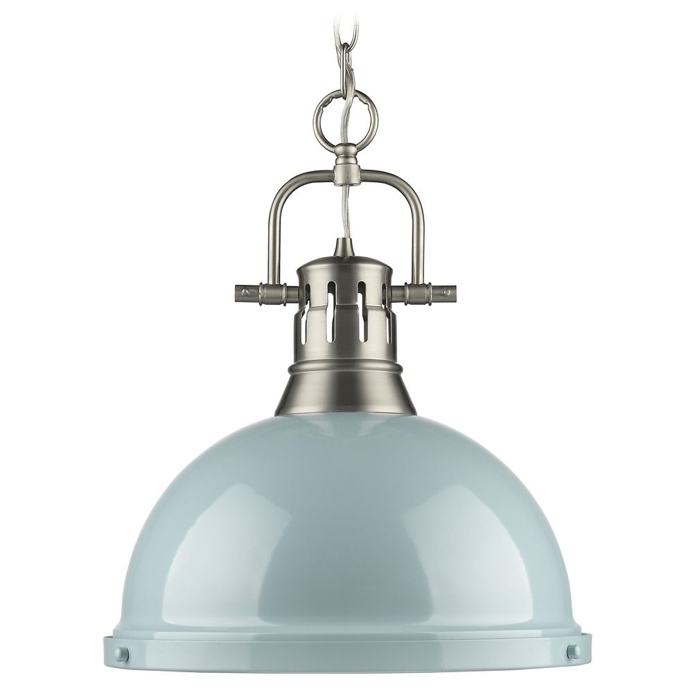 Golden Lighting Duncan Pewter Pendant Light With Bowl Dome Shade 3602 L P