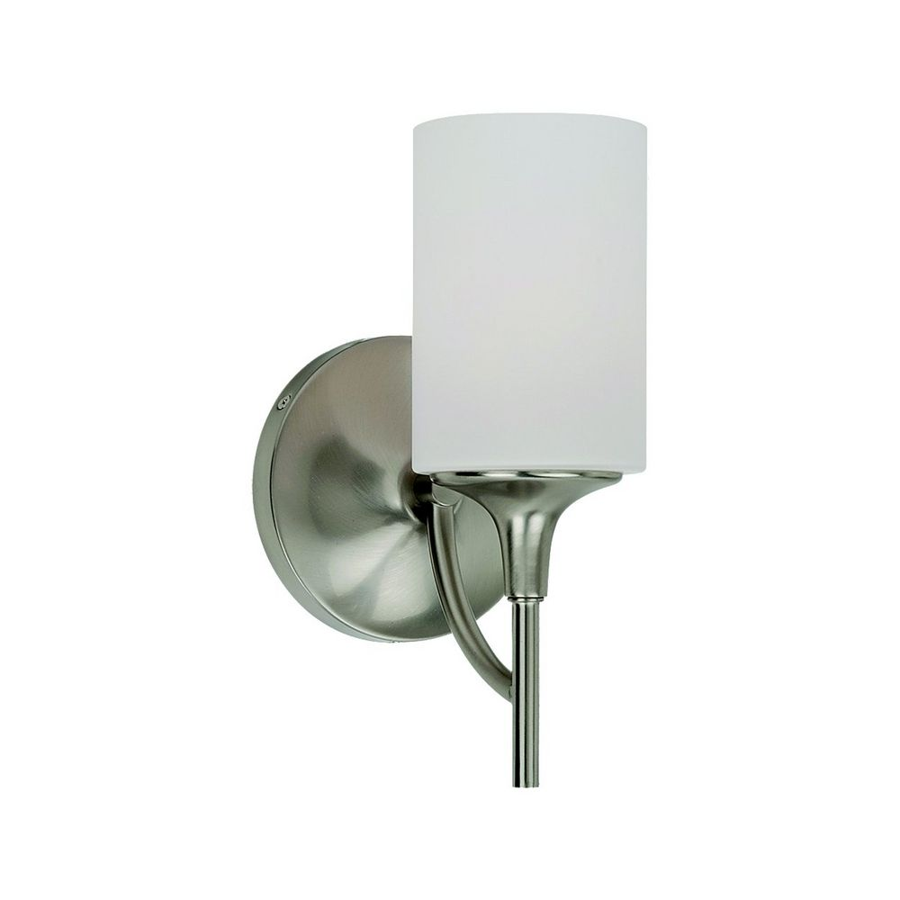 Modern Sconce Wall Light with White Glass in Brushed Nickel Finish 44952-962 Destination ...