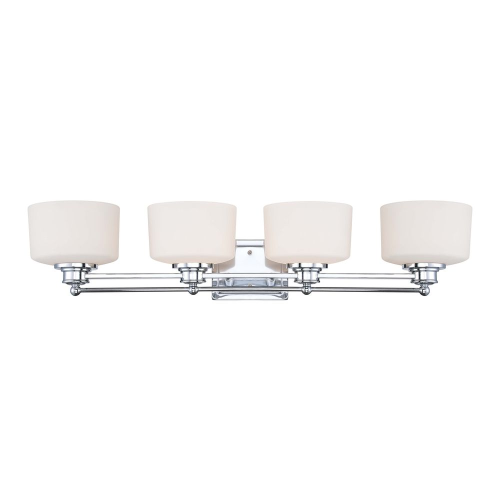 Modern Bathroom Light With White Glass In Polished Chrome Finish 60 4584 Destination Lighting