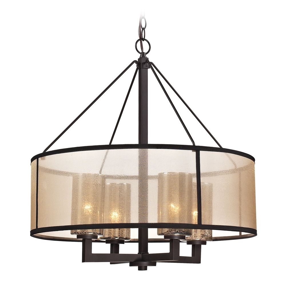 drum pendant light with beige cream shades in oil rubbed bronze