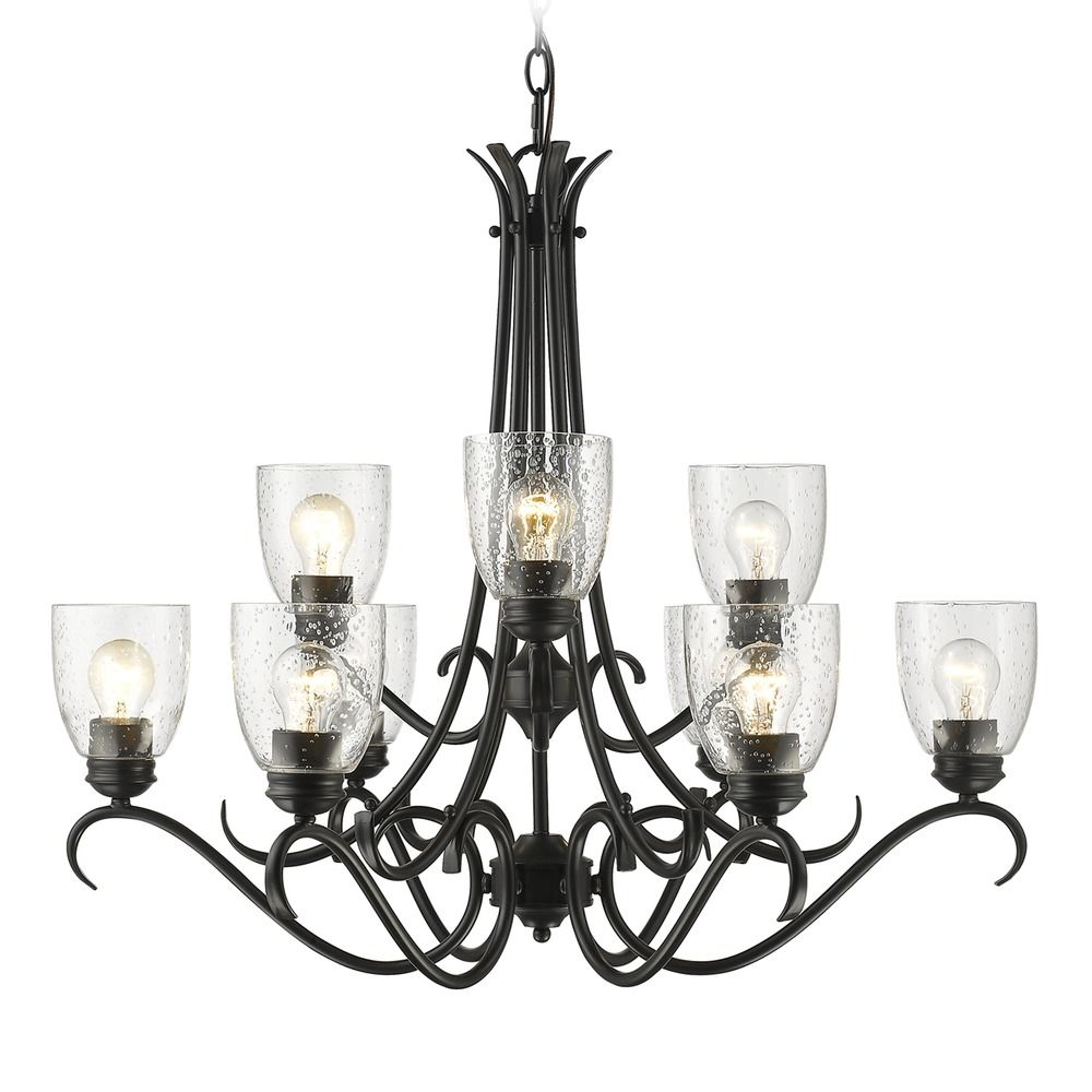 Chandelier Lighting Glass: Seeded Glass Chandelier Black Golden Lighting
